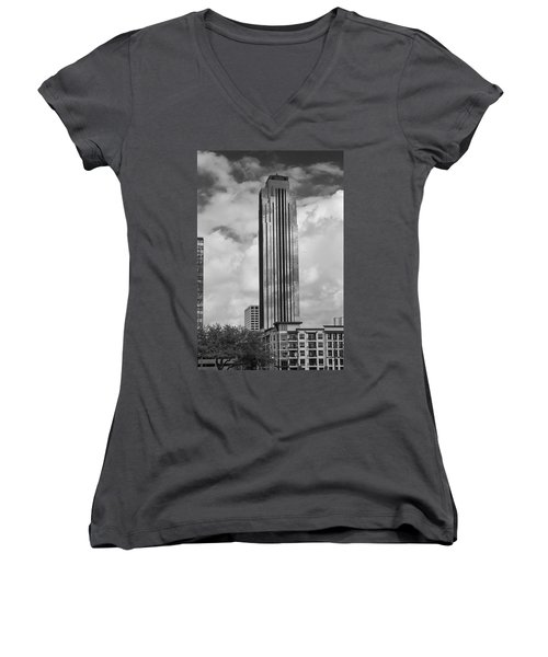 Williams Tower In Black And White Women's V-Neck T-Shirt