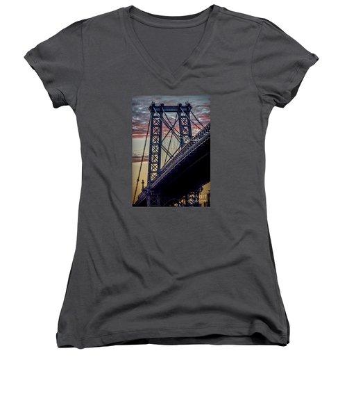Williamsburg Bridge Structure Women's V-Neck T-Shirt (Junior Cut) by James Aiken