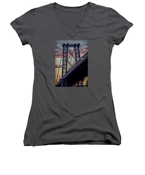 Williamsburg Bridge Structure Women's V-Neck (Athletic Fit)