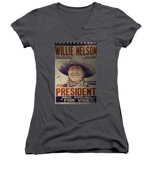 Willie For President Women's V-Neck T-Shirt (Junior Cut) by Bob Hislop