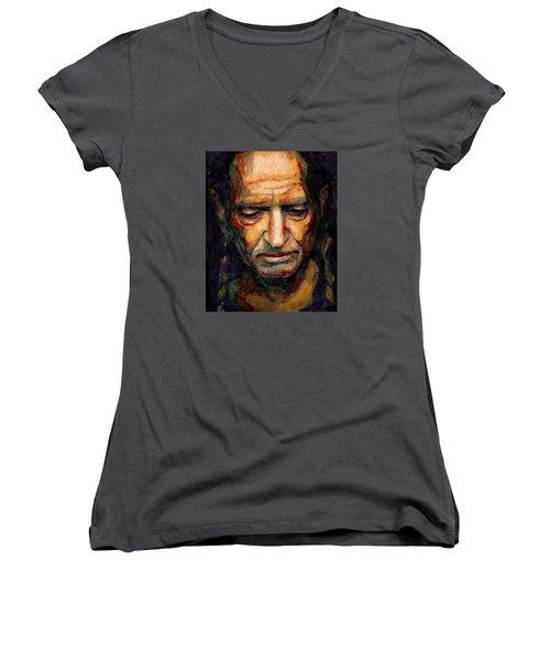 Willie Nelson Portrait 2 Women's V-Neck T-Shirt (Junior Cut) by Laur Iduc