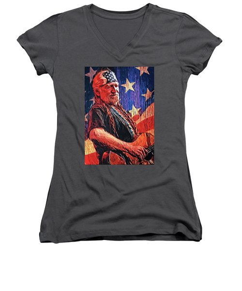 Willie Nelson Women's V-Neck