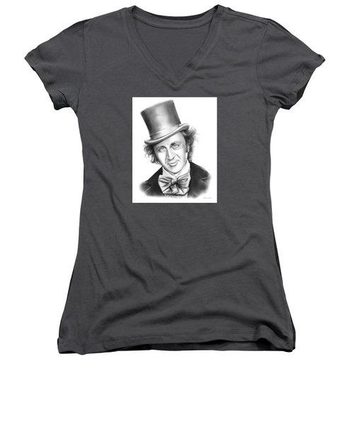 Willy Wonka Women's V-Neck T-Shirt (Junior Cut) by Greg Joens