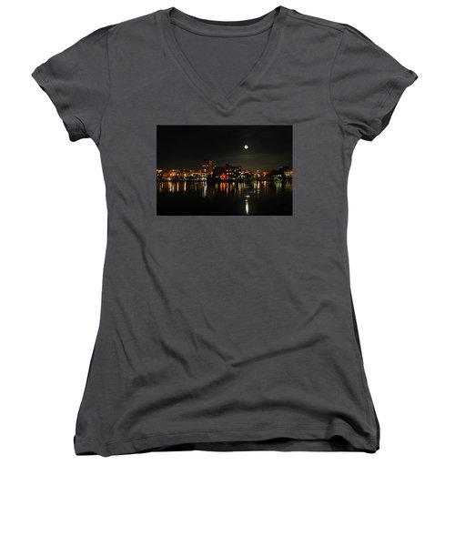 Wilmington Nc At Night Women's V-Neck T-Shirt (Junior Cut) by Denis Lemay