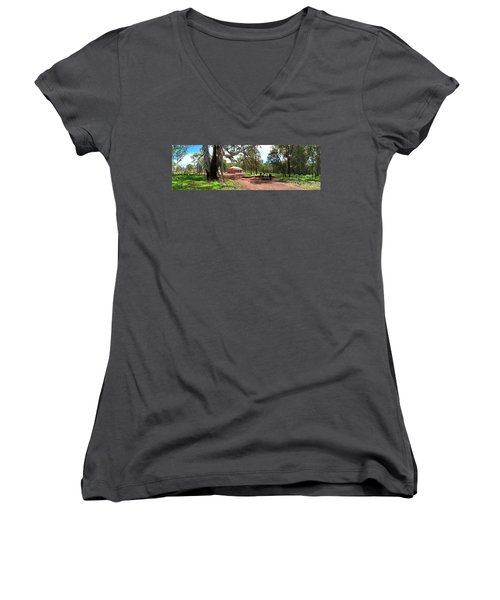 Women's V-Neck T-Shirt (Junior Cut) featuring the photograph Wilpena Pound Homestead by Bill Robinson