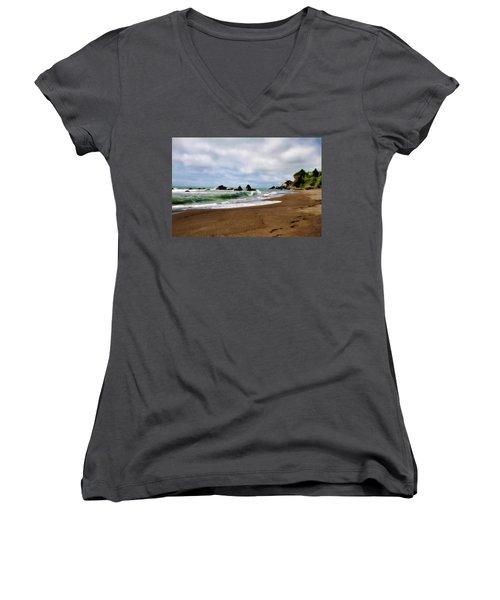Wilson Creek Beach Women's V-Neck T-Shirt (Junior Cut) by Lana Trussell