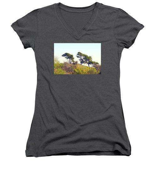 Wind Blown Trees Women's V-Neck