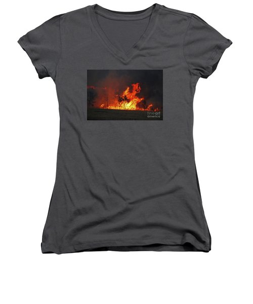 Wildfire Flames Women's V-Neck