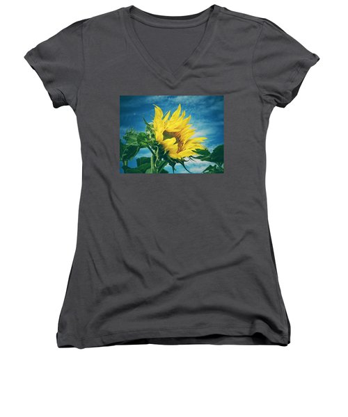 Windblown  Women's V-Neck T-Shirt (Junior Cut) by Karen Stahlros