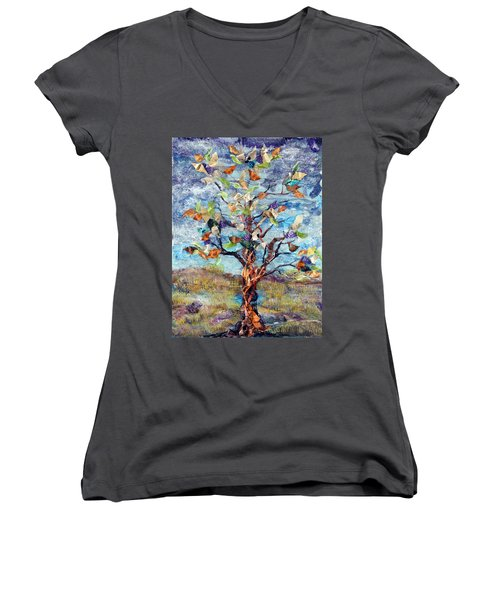 Windbreak Women's V-Neck T-Shirt (Junior Cut) by Regina Valluzzi