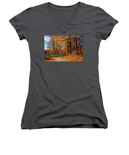 Winding Country Road In Autumn Women's V-Neck (Athletic Fit)