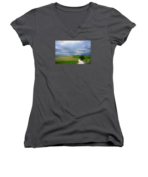 Winding Road To A Destination In A Tuscany Landscape Women's V-Neck T-Shirt (Junior Cut) by IPics Photography