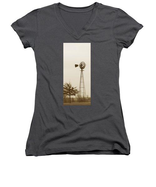 Windmill #1 Women's V-Neck T-Shirt (Junior Cut) by Susan Crossman Buscho