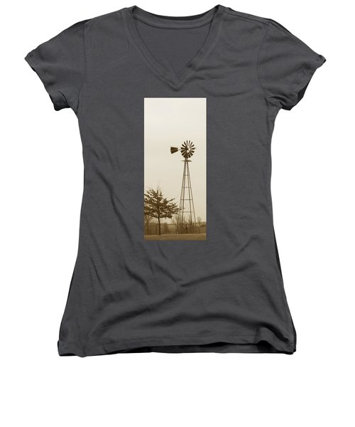 Windmill #1 Women's V-Neck (Athletic Fit)