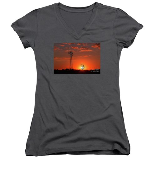 Windmill At Sunset Women's V-Neck T-Shirt