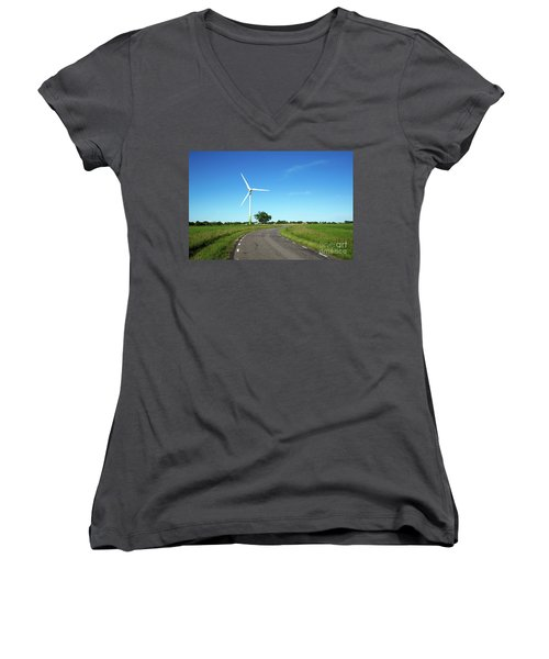 Women's V-Neck T-Shirt featuring the photograph Windmill By A Country Road Side by Kennerth and Birgitta Kullman