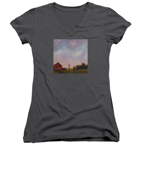 Women's V-Neck T-Shirt (Junior Cut) featuring the painting Windmill Farm Under A Stormy Sky. by Dan Wagner