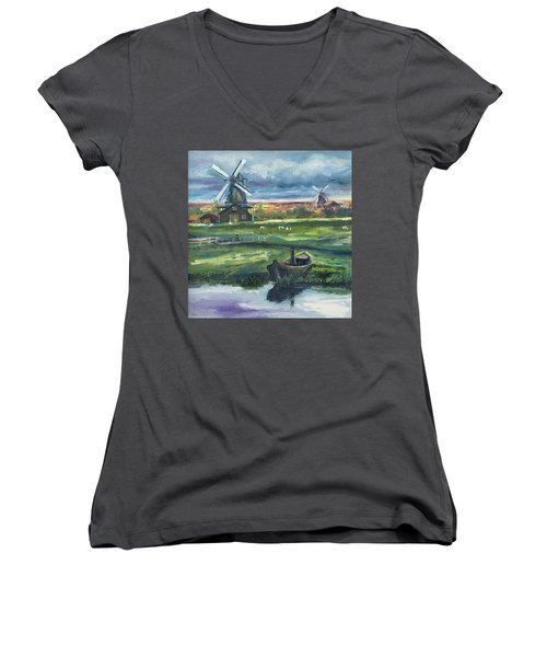Windmills Women's V-Neck T-Shirt