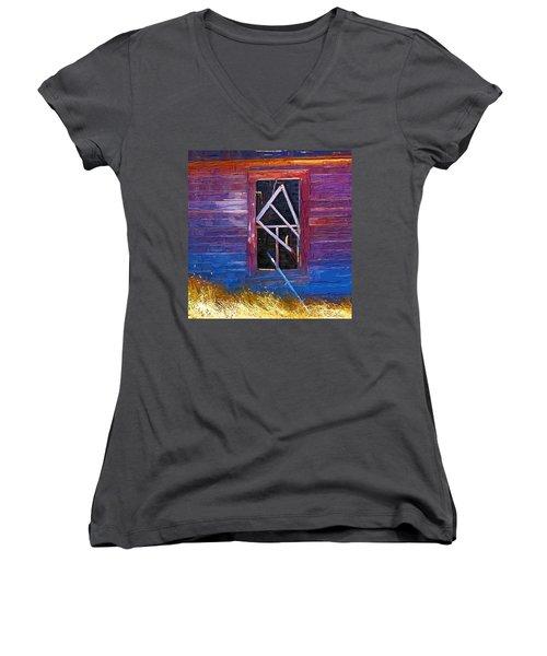 Women's V-Neck T-Shirt (Junior Cut) featuring the photograph Window-1 by Susan Kinney
