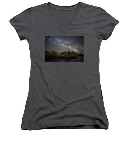 Women's V-Neck T-Shirt (Junior Cut) featuring the photograph Window by Aaron J Groen