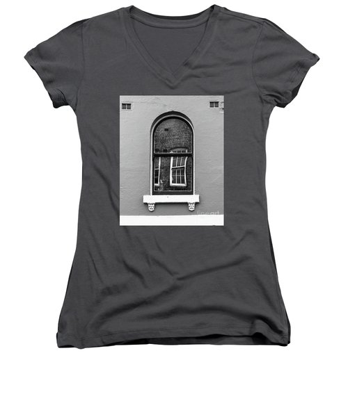 Women's V-Neck T-Shirt (Junior Cut) featuring the photograph Window And Window by Perry Webster