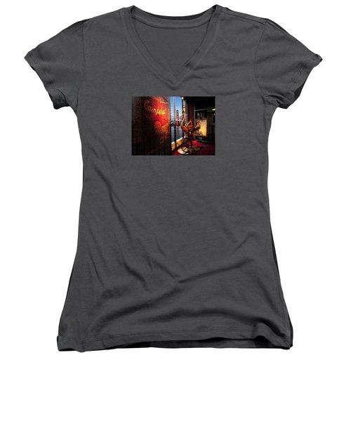 Women's V-Neck T-Shirt featuring the photograph Window Art by Steve Siri