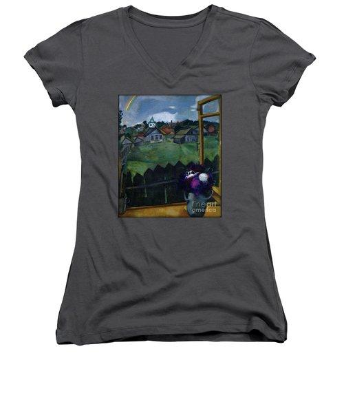 Window At Vitebsk Women's V-Neck T-Shirt