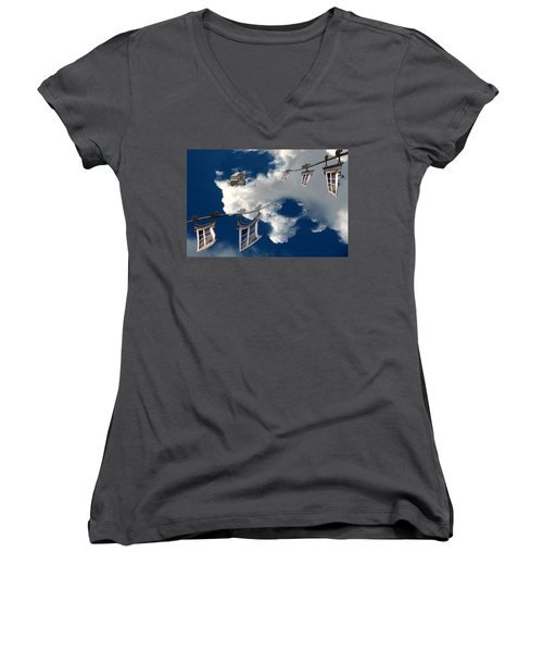 Women's V-Neck T-Shirt (Junior Cut) featuring the photograph Windows And The Sky by Christopher Woods