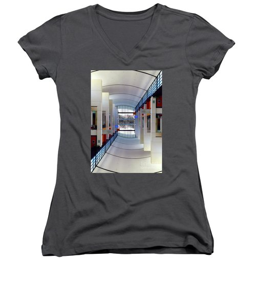Women's V-Neck T-Shirt (Junior Cut) featuring the photograph Windows by Brian Jones