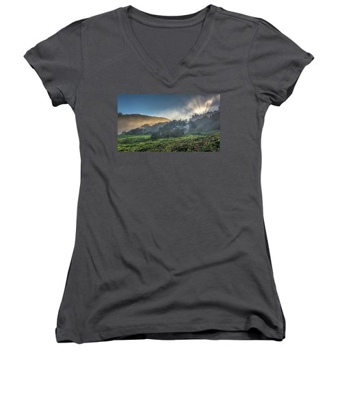 Women's V-Neck T-Shirt (Junior Cut) featuring the photograph Windswept Trees On The Oregon Coast by Pierre Leclerc Photography
