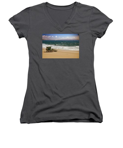 Women's V-Neck T-Shirt (Junior Cut) featuring the photograph Windy Beach Day by Joseph Hollingsworth