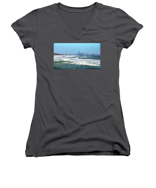 Windy View Of Nyc From Sandy Hook Nj Women's V-Neck T-Shirt