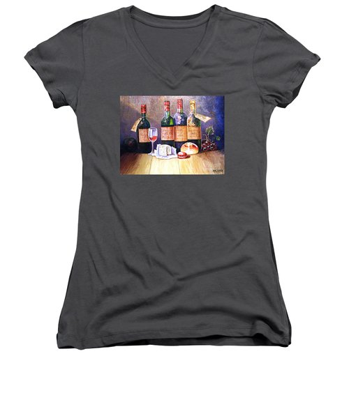 Wine And Cheese Women's V-Neck (Athletic Fit)