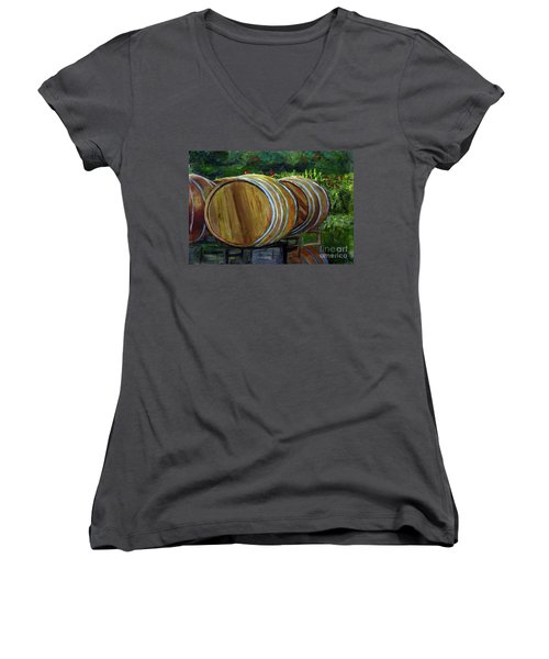 Wine Barrels Women's V-Neck T-Shirt