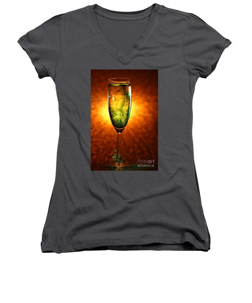 Wine Glass  Women's V-Neck T-Shirt