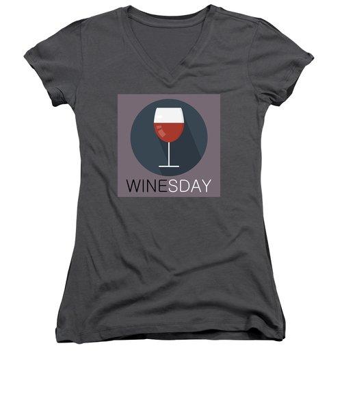Wine Poster Print - It's Winesday Women's V-Neck T-Shirt
