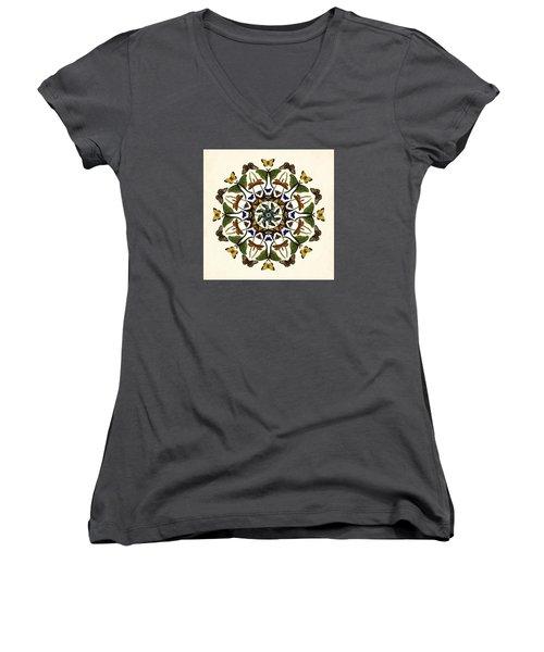 Women's V-Neck T-Shirt (Junior Cut) featuring the digital art Winged Kaleidoscope by Deborah Smith