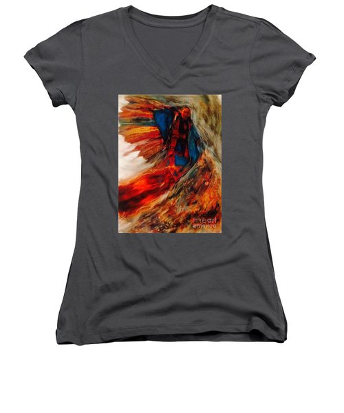 Women's V-Neck T-Shirt (Junior Cut) featuring the painting Winged Ones by FeatherStone Studio Julie A Miller