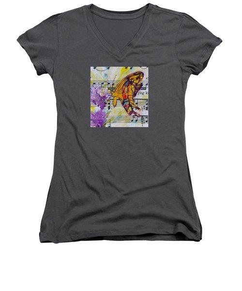 Wings II Women's V-Neck T-Shirt (Junior Cut) by Beverley Harper Tinsley