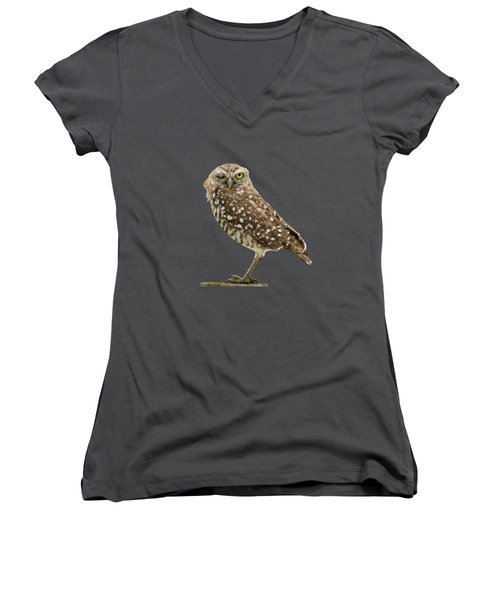 Winking Owl Women's V-Neck T-Shirt (Junior Cut) by Bradford Martin
