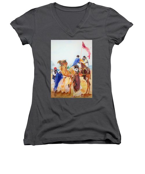 Winning Celebration Women's V-Neck T-Shirt (Junior Cut) by Khalid Saeed