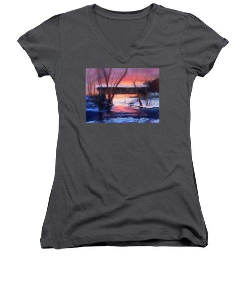 Winter At Bennett's Mill Women's V-Neck T-Shirt (Junior Cut) by Gail Kirtz