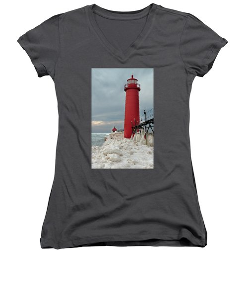 Winter At Grand Haven Lighthouse Women's V-Neck