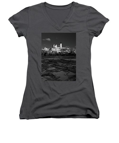 Winter At Nubble Lighthouse Bw Women's V-Neck (Athletic Fit)