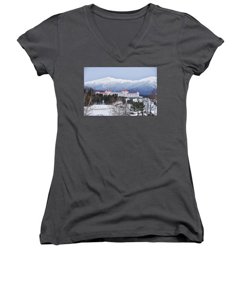 Winter At The Mt Washington Hotel Women's V-Neck T-Shirt (Junior Cut) by Tricia Marchlik