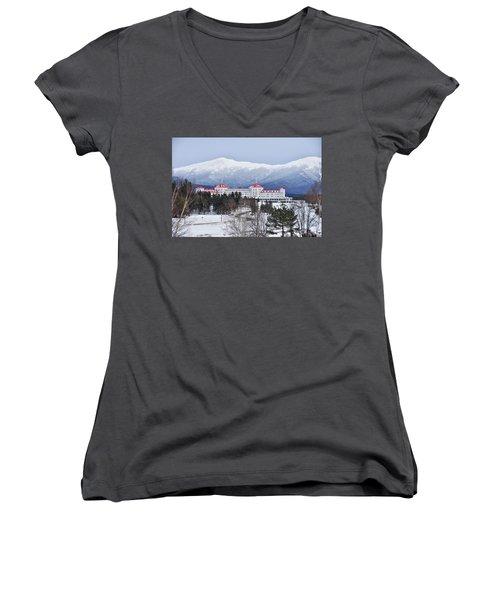 Winter At The Mt Washington Hotel Women's V-Neck T-Shirt