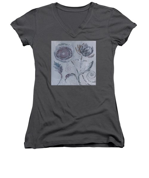 Women's V-Neck T-Shirt featuring the painting Winter Blooms by Robin Maria Pedrero