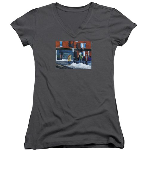 Winter Bus Stop Women's V-Neck T-Shirt (Junior Cut) by Reb Frost