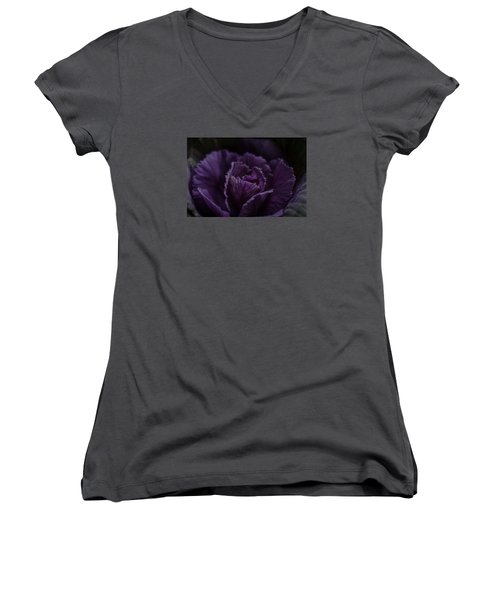 Winter Cabbage Women's V-Neck T-Shirt (Junior Cut) by Cathy Donohoue