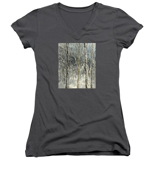 Women's V-Neck T-Shirt (Junior Cut) featuring the painting Winter Country by Tatiana Iliina